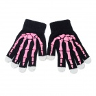 Universal 5-Finger Touch Screen Winter Gloves for Iphone / Ipad + More - Black + Pink (Pair)