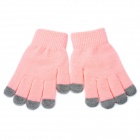 Universal Cotton 5-Finger Touch Screen Winter Gloves for iPhone / iPad + More - Pink (Pair)
