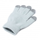 Universal Cotton 5-Finger Touch Screen Winter Gloves for Iphone / Ipad + More - Grey (Pair)