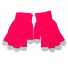 Universal Cotton 5-Finger Touch Screen Winter Gloves for Iphone / Ipad + More - Deep Pink (Pair)