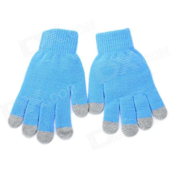 Universal Cotton 5-Finger Touch Screen Winter Gloves for Iphone / Ipad + More - Blue (Pair)