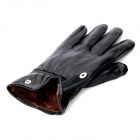 Universal Sheepskin 5-Finger Touch Screen Winter Gloves for Iphone / Ipad + More - Black (Pair)