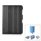 Protective PU Leather Case Stand w/ Cleaning Cloth for Samsung Galaxy Note 10.1 N8000 - Black