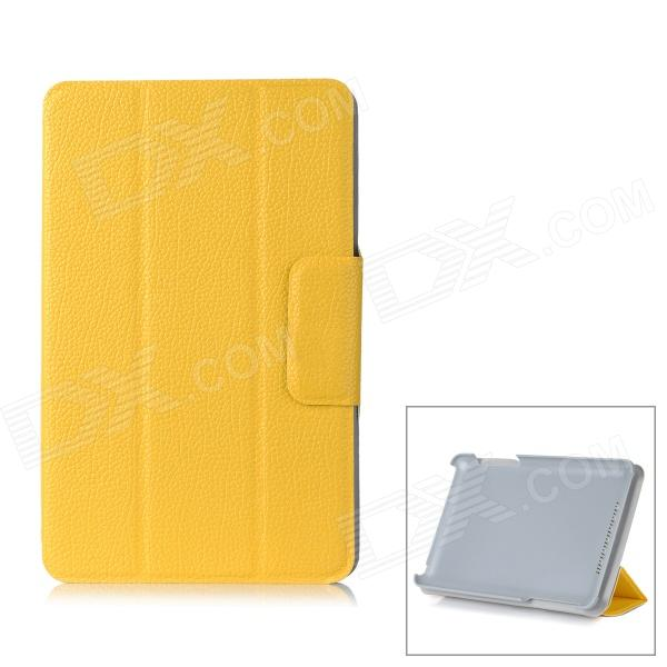 Flip Open Lichee Pattern Protective PC Case Stand for Google Nexus 7 - Yellow lichee pattern protective pu leather case stand w auto sleep cover for google nexus 7 ii black