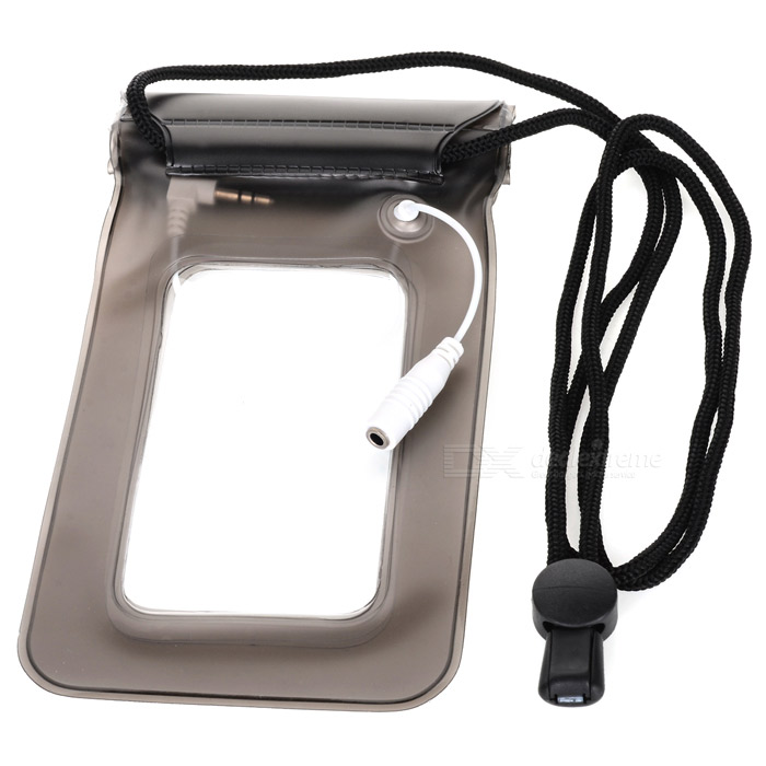 Waterproof Case w/ 3.5mm Male to Female Extension Cable & Strap for Iphone / Cellphone - Black