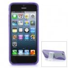 S shaped Protective Hard Plastic + TPU Back Case Stand for Iphone 5 - Transparent + Purple
