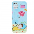 Lovely Girl Sleeping Outdoor Pattern Protective Plastic Back Case for iPhone 5 - Multi-Color