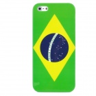Brazil Flag Pattern Protective Plastic Back Case for Iphone 5 - Green + Yellow + Dark Blue