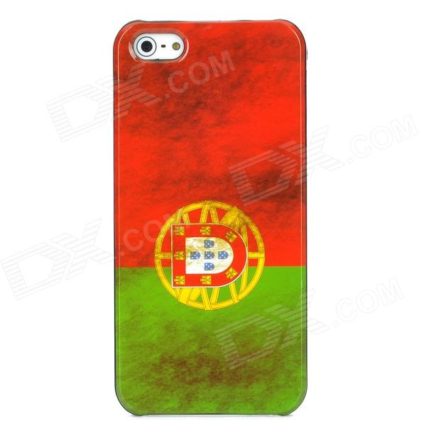 Retro Portugal Flag Pattern Protective Plastic Back Case for Iphone 5 - Red + Green london pattern protective plastic back case w front screen protector for iphone 5 grey red