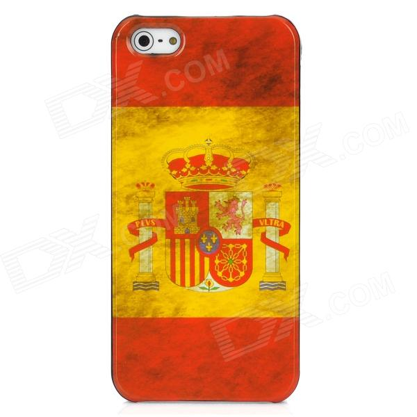 Retro Spain Flag Pattern Protective Plastic Back Case for Iphone 5 - Red + Yellow london pattern protective plastic back case w front screen protector for iphone 5 grey red