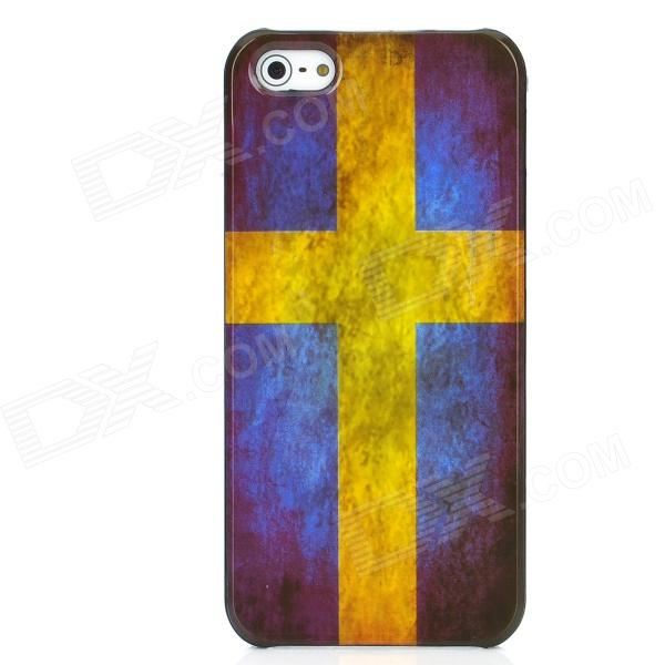 Retro Sweden Flag Pattern Protective Plastic Back Case for Iphone 5 - Yellow + Blue holes pattern protective tpu back case for iphone 6 plus 5 5 yellow