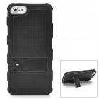 Cool Protective PC + Silicone Back Case with Stand for Iphone 5 - Black