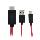Micro USB MHL to HDMI HDTV Cable for Samsung Galaxy S III / i9300 - Red + Black (200cm)