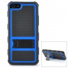 Protective Hard PC + Silicone Back Case Stand for Iphone 5 - Black + Blue