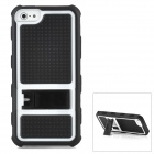 Protective PC + Silicone Back Case with Folding Stand Holder for iPhone 5 - Black + White