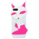 PG021 Fashion Fox Style Protective Silicone Soft Back Case for Iphone 5 - Deep Pink + White