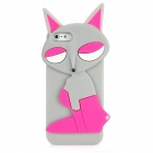 PG021 Fashion Fox Style Protective Silicone Back Case for Iphone 5 - Grey + Deep Pink