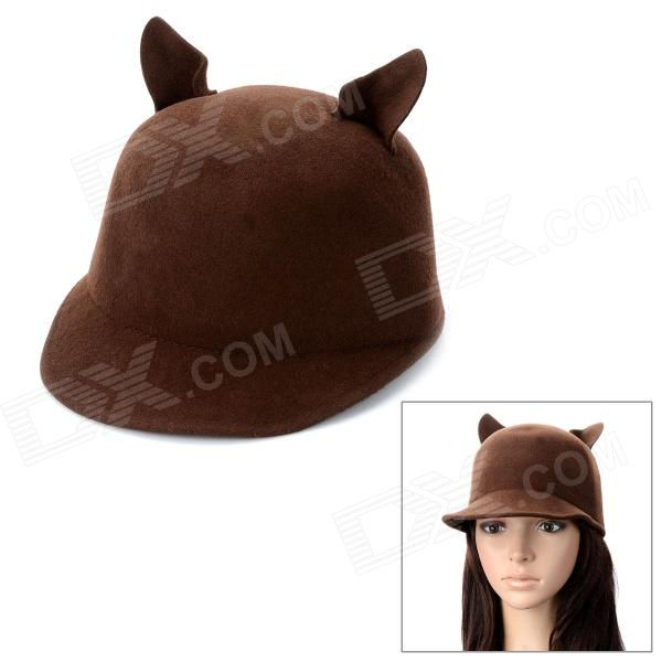 Creative Cat Ear Shaped Wool Hat for Cosplay - Coffee (58cm)