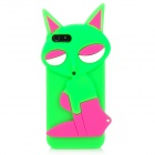 PG021 Fashion Fox Stil Protective Silicone Soft-Case für iPhone 5 - Deep Pink + Grün