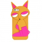 PG021 Fashion Fox Style Protective Silicone Back Case for Iphone 5 - Brown + Deep Pink