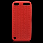 Anti-Slip Tyre Tread Pattern Protective Silicone Back Case for Ipod Touch 5 - Red