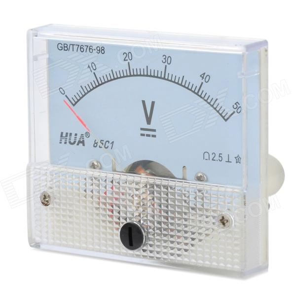 HUA 85C1 Analogue DC 50V Voltage Panel Meter - Light Blue + White analogue dc 500v voltage panel meter white