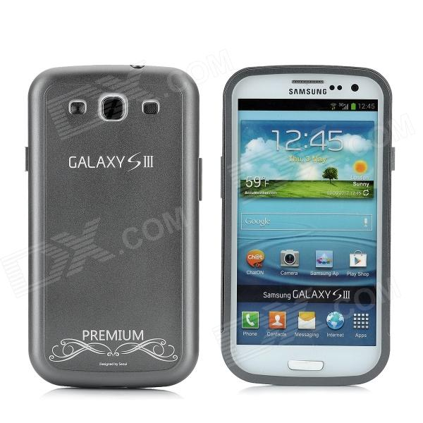 Replacement Battery Back Cover Case w/ Screen Protector for Samsung Galaxy S3 i9300 - Silver Grey