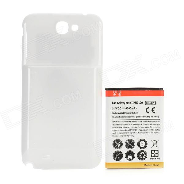 Rechargeable 6500mAh Extended Li-ion Battery w/ Back Case for Samsung N7100 Galaxy Note 2 - White ismartdigi rechargeable 3100mah li ion battery for samsung n7100 galaxy note 2 n7102 white