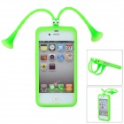 Nette Grasshopper Protective Silicone Soft-zurück Fall w / Suction Cup Antennen für iPhone 5 - Green