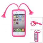 Nette Grasshopper Protective Silicone Soft-zurück Fall w / Suction Cup Antennen für iPhone 5 - Red