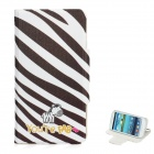 Zebras Pattern Protective PU Leather Flip-Open Case w/ Stand for Samsung i9300 - Black + White