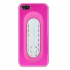 PG010 Plastic Metal Drawbench Protective Hard Back Case for Iphone 5 - Deep Pink