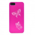 Laser Etching Butterfly Flower Pattern Protective Aluminum Hard Back Case for Iphone 5- Deep Pink