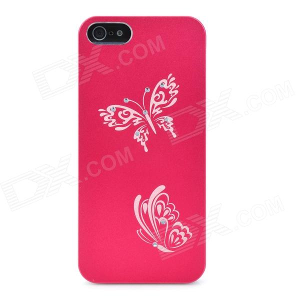 Laser Etching Butterfly Flower Pattern Protective Aluminum Hard Back Case for Iphone 5- Red butterfly bling diamond case