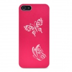 Laser Etching Butterfly Flower Pattern Protective Aluminum Hard Back Case for Iphone 5- Red