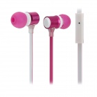XKDUN CK-820 Flat In-Ear Earphones w/ Microphone - Deep Pink + White (3.5mm Plug / 120cm)
