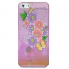 Protective Flower Rain Drop Pattern ABS Back Case for Iphone 5 - Translucent Deep Pink