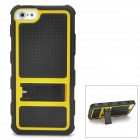 Cool Protective PC + Silicone Back Case with Stand for Iphone 5 - Black + Yellow