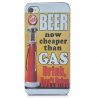 Beer Cheaper than Gas Pattern Protective PC Back Case for Iphone 4 / 4S - Yellow + Red