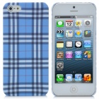 Protective Checked Pattern ABS Back Case for iPhone 5 - Blue + White + Black