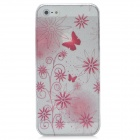 Protective Flower Rain Drop Pattern ABS Back Case for Iphone 5 - Translucent + Deep Pink