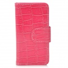 Snake Skin Texture Protective PU Leather Cover Plastic Back Case w/ Card Slots for Iphone 5 - Pink