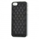 Net Pattern Protective PU Leather + Plastic Back Case for iPhone 5 - Black