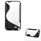 Protective TPU + PC Case w/ Folding Holder for Samsung Galaxy Note 2 N7100 - Black + Transparent