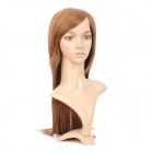 590A 27/30 Fashion Lady's Diagonal Bangs Long Natural Straight Hair Wig - Golden