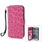 Protective PU Leather Cover PC Back Case Stand w/ Card Slots for Samsung Galaxy S3 i9300 - Deep Pink