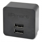 i-Pmart UP0521B 10W Dual USB Charger Adapter for iPhone / iPad + More - Black (100~240V / US Plug)