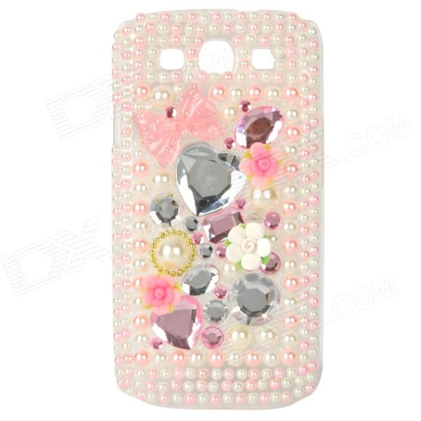 Protective Rhinestone Plastic Case for Samsung i9300 Galaxy S3 - Pink + White shining rhinestone plastic case for samsung i9300 galaxy s3 purple transparent