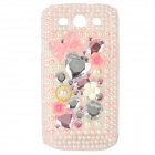 Protective Rhinestone Plastic Case for Samsung i9300 Galaxy S3 - Pink + White