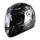 Cool Tanked 107 Outdoor Sports Racing Helmet - Black + Silvery Grey + Green (Size L)